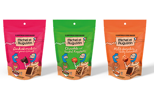 Le Cookie Bag is available in three fluorescent pouches, containing 15 individually-wrapped cookie squares