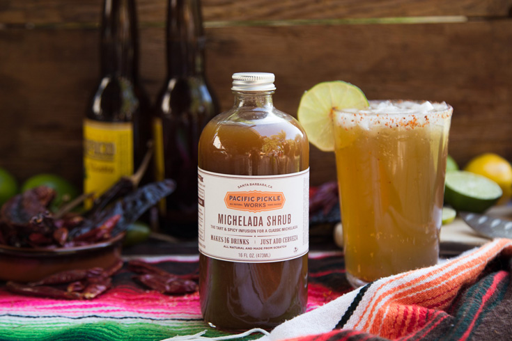 The Michelada Shrub is Pacific Pickle Works' take on the traditional Mexican beverage that combines fresh lime juice, organic apple cider vinegar, Worcestershire sauce, and other spices