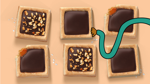 Michel et Augustin currently creates its Cookie Squares in four flavors: Dark Chocolate and a Pinch of Sea Salt, Chocolate and Toasted Hazelnuts, Milk Chocolate and Melty Caramel, and Triple Chocolate