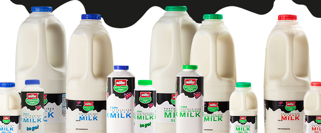 A line of milk products from Müller