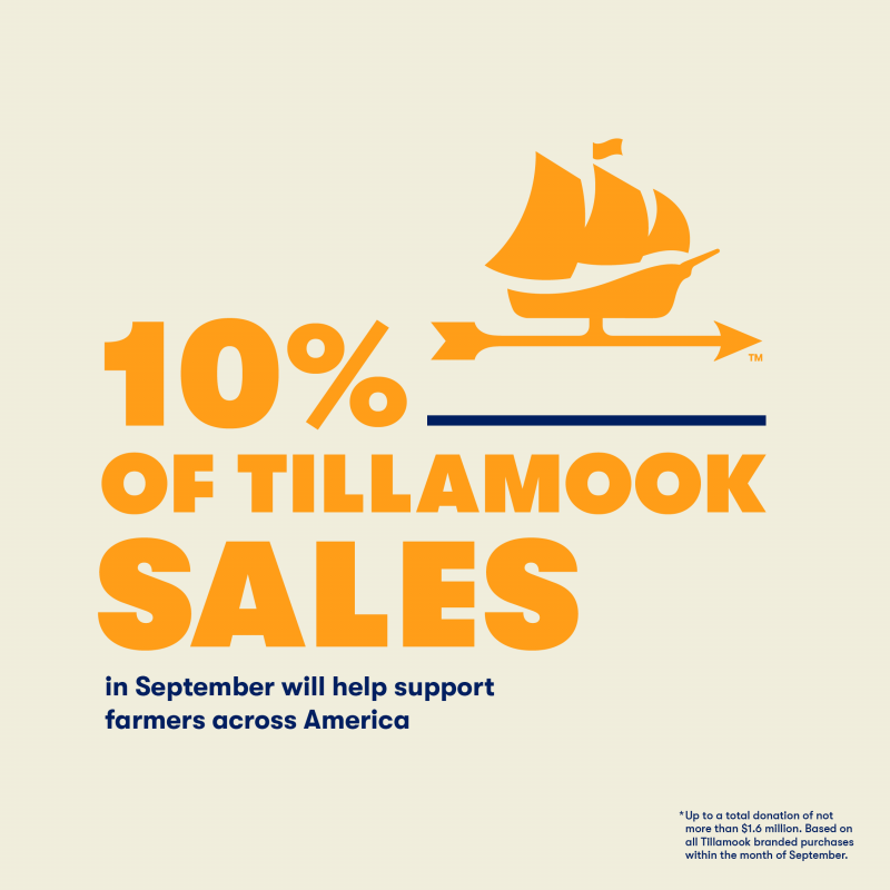 Throughout the month of September, 10 percent of sales, up to $1.6 million, from Tillamook products will go toward grants that will save farms and farmland, provide financial relief directly to farmers, and support sound farming practices
