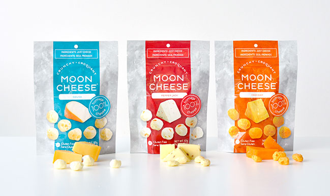 Moon Cheese comes in three classic flavors—cheddar, gouda, and pepper jack