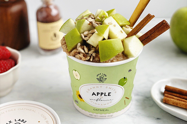 Mylk Labs launched its latest flavor, Granny Smith Apple & Sunflower Cinnamon, a spin on the classic Apple Cinnamon flavor and the company's first nut-free oatmeal
