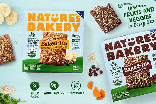 Nature's Bakery has recently launched its organic baked snack bar, Baked-Ins, featuring real fruits and veggies in every bite