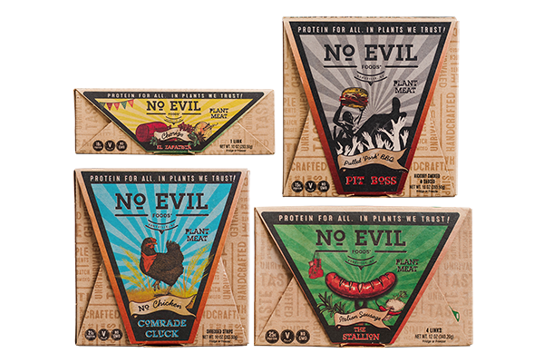 Remaining completely eco-friendly, No Evil Foods' packaging still entices consumers with a unique design