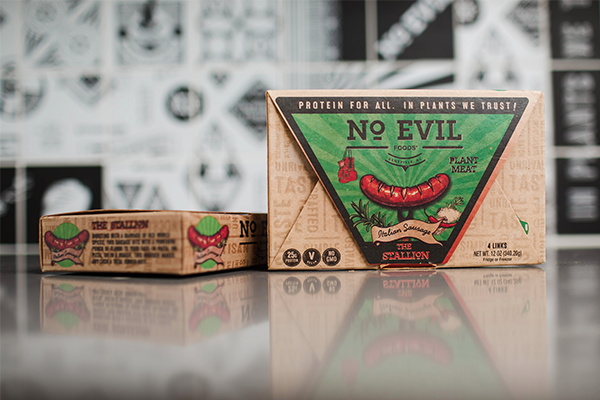 No Evil Foods utilizes plant-based inks and water-based adhesives to ensure complete compostability