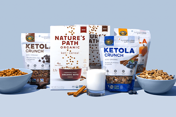 Nature's Path has introduced two new lines under a range of keto products, including two organic keto cereals as well as three new Ketola Crunch™ granolas