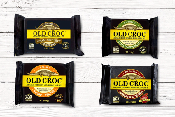 Old Croc's new Classic Cheddar cheese joins the likes of Grand Reserve, Extra Sharp Cheddar, Sharp Cheddar, and Smoked Cheddar