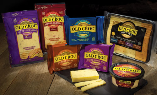 Old Croc flavored cheddars are now available in a wide assortment of products including pre-packaged slices, easy-to-serve snack trays, Croc Bites single portion snacks, and delicious spreads