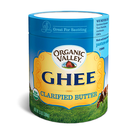 Otherwise known as clarified butter, ghee is lactose-free, high in fat, and has a higher smoke point than other traditional cooking oils