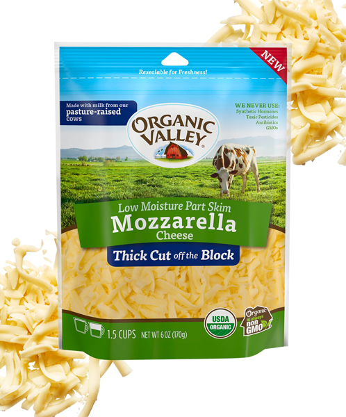 PEOPLE Food Awards 2021 awarded First Place for Organic Valley Thick Cut Shredded Mozzarella in Best Shredded Cheese Category