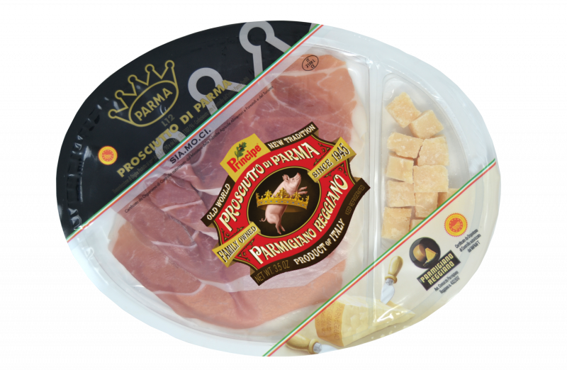 Conveniently designed with separate, clear compartments for the Parma Prosciutto and Parmigiano Reggiano, each Principe D.O.P. Prosciutto di Parma and Parmigiano Reggiano Snack Pack offers an easily accessible and delicious snacking experience