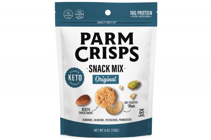 ParmCrisps Snack Mix contains Original ParmCrisps, almonds, pistachios, and cashews and will be available in Ranch and Smoky Barbeque flavors