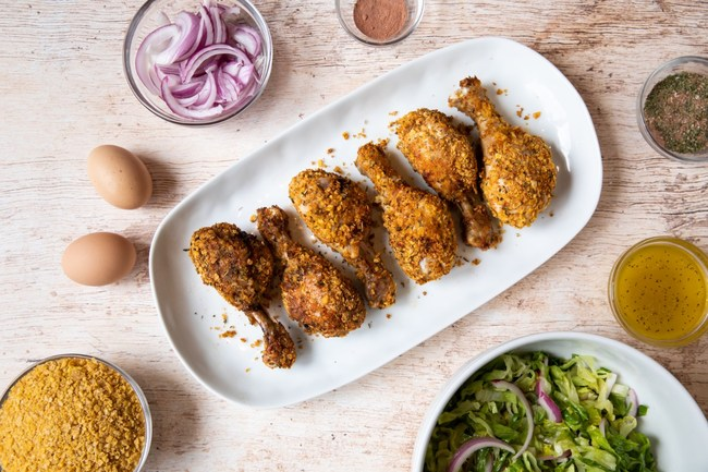 """Peapod is once again collaborating with Skinnytaste's Gina Homolka, utilizing her Cornflake-Crusted """"Fried"""" Chicken with Romaine Slaw recipe to create a limited-time only meal kit"""