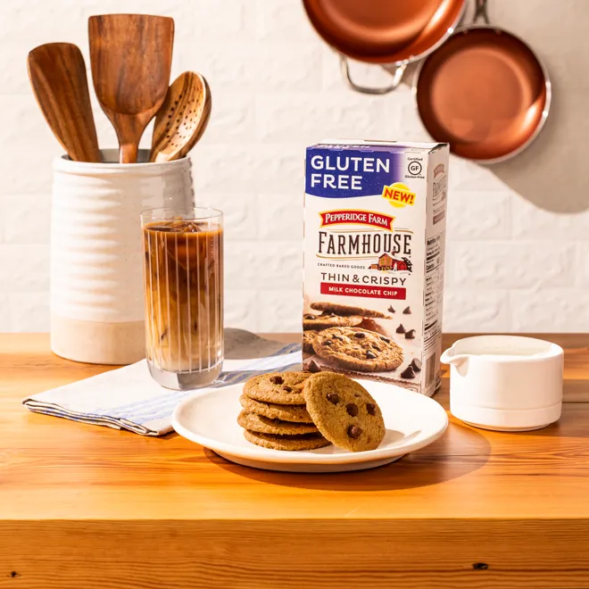 For the first time since its inception in 1937, the brand is introducing two gluten-free options: Farmhouse Thin & Crispy Milk Chocolate Chip and Butter Crisp