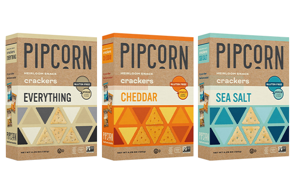 Pipcorn's Heirloom Snack Crackers will be available in Cheddar, Sea Salt, and Everything
