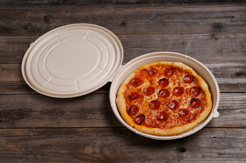 The PizzaRound is World Centric's first 100% tree-free, plant-based, 100% compostable pizza box