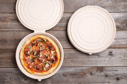 The PizzaRound is made from 80% sugarcane bagasse and 20% bamboo