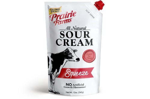 Prairie Farms Dairy announced the expansion of its product lineup to include squeezable pouches of all natural sour cream