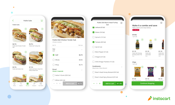 Alongside the debut of Instacart Meals, Publix and Instacart are teaming up to launch a new digital deli counter—which includes the retailer's popular Publix subs