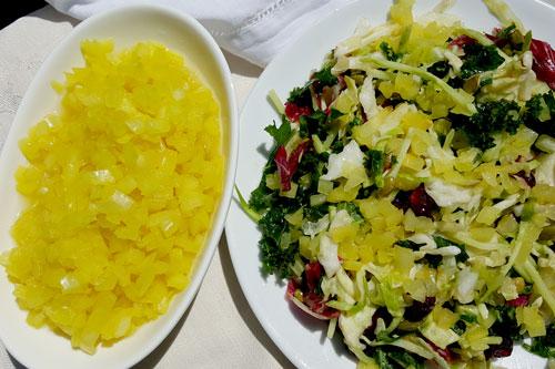 Fermentata onions on a Radicchio Kale salad