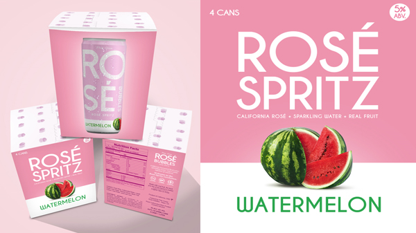 Rosé Bubbles is a seltzer style beverage made with only real California Rosé, sparkling water, and natural fruit flavors