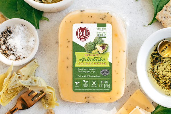 Roth® Cheese has announced a new Gouda that is made with the flavors of delectable spinach artichoke dip