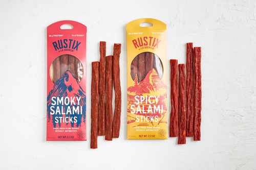 Rustix salami sticks are available in both Spicy and Smoky varieties