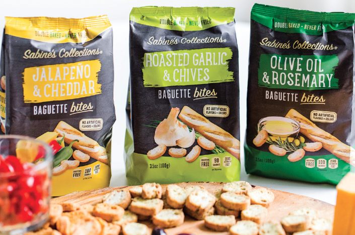 The Baguette Bites are available in three bold flavors—Olive Oil and Rosemary, Jalapeno and Cheddar, and Roasted Garlic and Chives