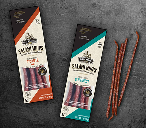 The new packaging for the Salami Whips offers a convenient, shelf-stable, and indulgent snack to consumers