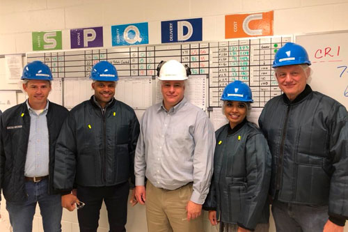 President of Prepared Foods Sally Grimes visiting the Tyson Kansas City plant in August 2018, along with CSO Justin Whitmore, plant manager Ben Brockway, Greg Uecker and John Reicks