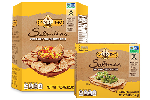 Sanissimo Salmas and Salmitas are gluten-free, Non-GMO Project Verified, and have no artificial colors, flavors, preservatives, or added sugars