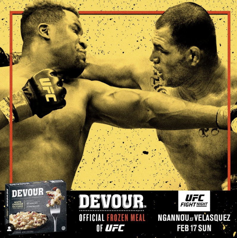 """The DEVOUR frozen food brand has been named the """"Official Frozen Meal of UFC"""