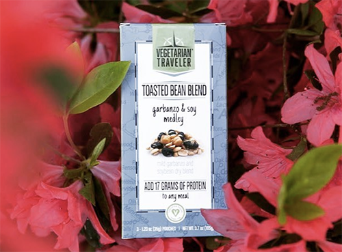 Vegetarian Traveler is currently available in three varieties—a Tri-Soy Medley, a Pepita & Soy-Pea Medley, and a Garbanzo & Soy Medley