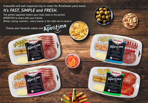 The new charcuterie party tray is innovative mix in which Veroni Salumi brings together the classic charcuterie with the typical Italian aperitivo, balanced with products loved by the American market, such as dried fruits