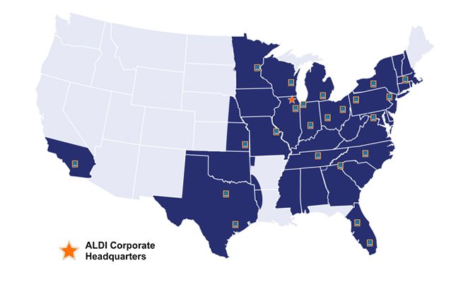 Aldi Locations in the U.S. once California stores open at the end of March, 2016.