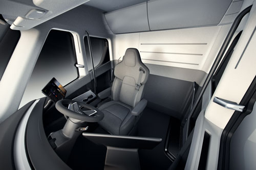 The interior of Tesla's electric semi