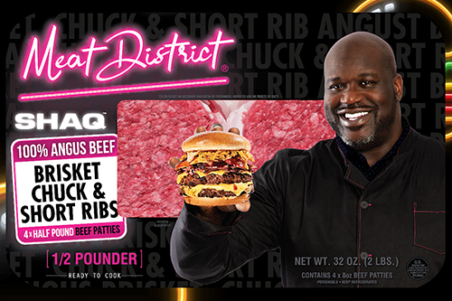 """Meat District collaborated with famed NBA star Shaquille O'Neal to bring its """"SHAQ"""" 2 lb burger pack to retail shelves nationwide"""