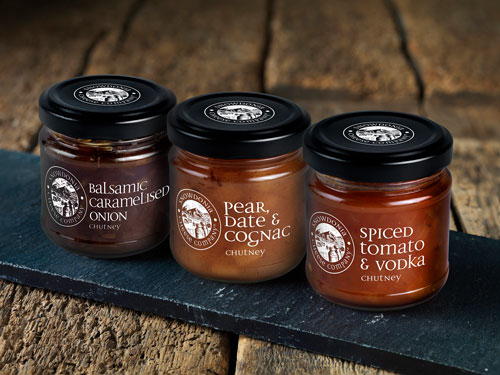 Balsamic Caramelized Onion; Pear, Date & Cognac; and Spiced Tomato & Vodka are available in 4 oz jars