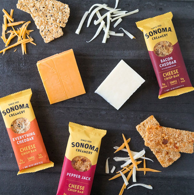 The Cheese Crisp Bars are a high-protein snack made with real cheese that is tasty, crunchy, and shelf-stable and perfect for on-the-go snacking