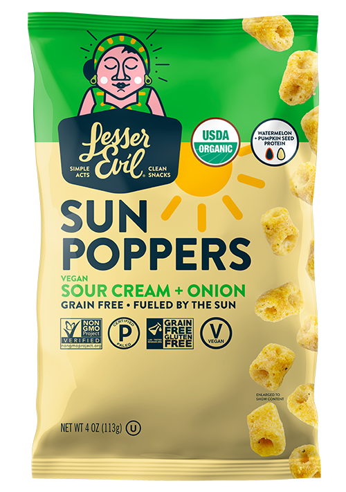 LesserEvil released new Sun Poppers, made from upcycled watermelon and pumpkin seeds, in addition to entering a new category with the launch of PeaNOTS, made from organic pea protein
