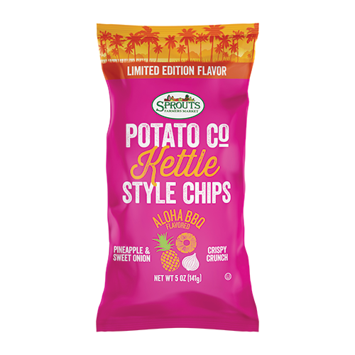 Sprouts Kettle Chips, available in new flavors like Burger Toppings and Aloha BBQ, are also included in the new lineup, in addition to Sprouts S'mores Chocolate Bites and Piña Colada or Jamaican Jerk Almonds