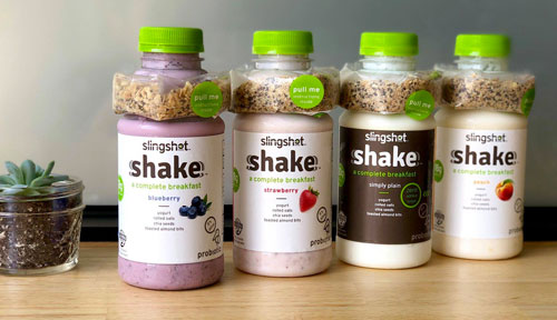 Slingshot Foods' Shakes are 12 oz high-protein, low sugar yogurts accompanied by a healthy and delicious shot of granola, chia, almonds, and oats