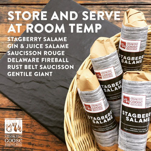 Store and serve Smoking Goose Salumi products at room temperture