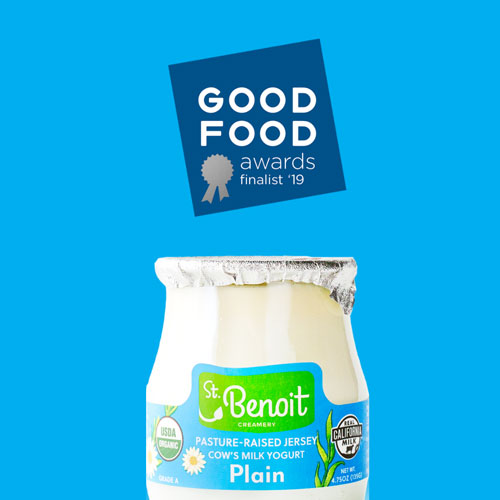 St. Benoit's Organic Plain yogurt was recently named a Good Food Awards Finalist