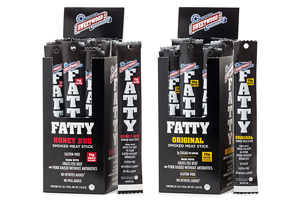 The 2 oz FATTY comes in four flavors: Original, Jalapeño, Honey BBQ, and Teriyaki