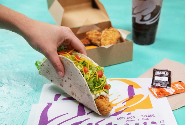 Taco Bell's new Crispy Tortilla Chicken can be wrapped up in a soft tortilla or dunked directly into a dipping sauce