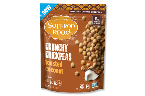 Saffron Road® has launched new flavors for its crunchy chickpea snacks, including Salt & Pepper, Buffalo, and Toasted Coconut Snack