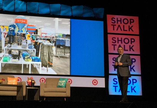 Target CEO Brian Cornell talks about the retailer's prototype store Monday at the Shoptalk conference in Las Vegas.