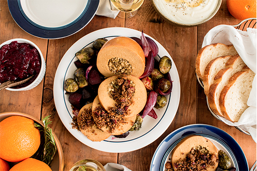 Tofurky offers holiday loaves and roasts, including a ham loaf, an oven-roasted loaf, and a Turk'y roast